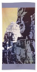 Hand Towel featuring the painting Bayon Temple- Angkor Wat, Cambodia by Ryan Fox