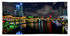 Bayside Miami Florida At Night Under The Stars Hand Towel by Justin Kelefas