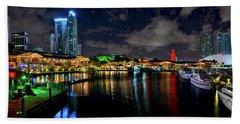 Bayside Miami Florida At Night Under The Stars Bath Towel by Justin Kelefas