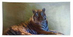 Be Calm In Your Heart - Tiger Art Bath Towel by Jordan Blackstone