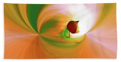 Be Happy, Green-orange With Physalis Bath Towel