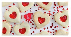 Bath Towel featuring the photograph Be Mine Heart Cookies by Teri Virbickis