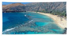 Beach And Haunama Bay, Oahu, Hawaii Hand Towel