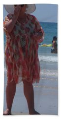 Hand Towel featuring the painting Beach Beauty by Esther Newman-Cohen