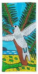 Bath Towel featuring the painting Beach Bird by Artists With Autism Inc