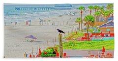Beach Bird On A Pole Hand Towel