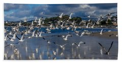 Beach Birds Hand Towel by Derek Dean