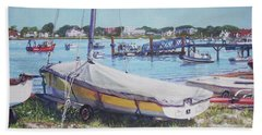 Hand Towel featuring the painting Beach Boat Under Cover by Martin Davey
