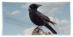 Beach Bum Crow Hand Towel by Peggy Collins