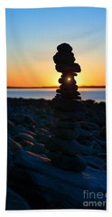 Beach Cairn At Sunrise Bath Towel