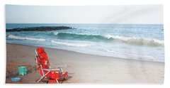 Hand Towel featuring the photograph Beach Chair By The Sea by Ann Murphy