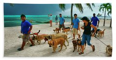 Beach Dog Walkers On Ambergris Caye, Belize Hand Towel