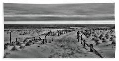Beach Entry In Black And White Bath Towel by Paul Ward
