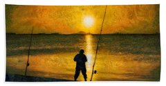 Hand Towel featuring the photograph Beach Fishing  by Scott Carruthers