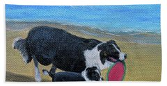 Hand Towel featuring the painting Beach Frisbee by Fran Brooks