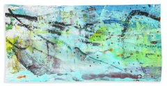 Beach Fun Art - Splash Blue Abstract Painting Bath Towel