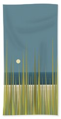 Hand Towel featuring the digital art Beach Grass And Blue Sky by Val Arie