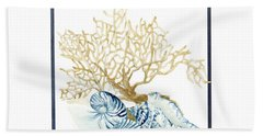 Beach House Nautilus Scallop N Conch With Tan Fan Coral Hand Towel