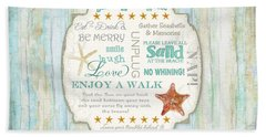 Beach House Rules - Refreshing Shore Typography Bath Towel by Audrey Jeanne Roberts