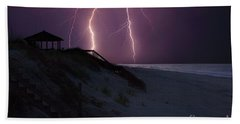 Beach Lighting Storm Bath Towel by Randy Steele