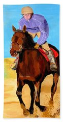 Bath Towel featuring the painting Beach Rider by Rodney Campbell