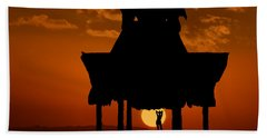 Beach Shelter At Sunset Hand Towel