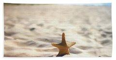 Beach Starfish Wood Texture Hand Towel by Dan Sproul