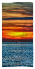 Hand Towel featuring the photograph Beach Sunset And Boat by Mariola Bitner