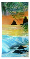 Hand Towel featuring the painting Beach Sunset by Jenny Lee