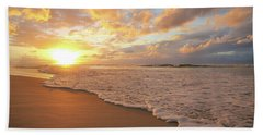 Beach Sunset With Golden Clouds Hand Towel