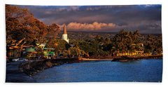 Beach Town Of Kailua-kona On The Big Island Of Hawaii Hand Towel