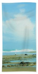 Hand Towel featuring the photograph Beach Walk Painted by Mary Jo Allen
