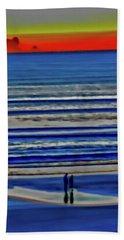 Beach Walking At Sunrise Hand Towel