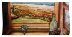Bath Towel featuring the painting Beach Window by Winsome Gunning