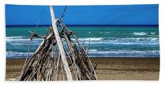 Beach With Wooden Tent - Spiaggia Con Tenda Di Legno Bath Towel