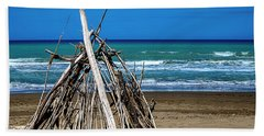 Beach With Wooden Tent - Spiaggia Con Tenda Di Legno Hand Towel