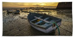 Beached Boat On La Caleta Cadiz Spain Hand Towel