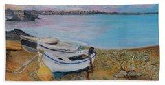 Beached Boats Bath Towel