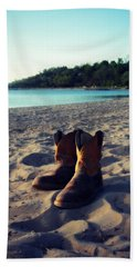 Bath Towel featuring the painting Beached Boots by Cyryn Fyrcyd