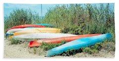 Beached Kayaks Bath Towel