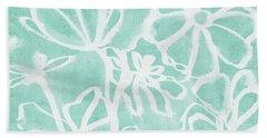 Beachglass And White Flowers 2- Art By Linda Woods Hand Towel