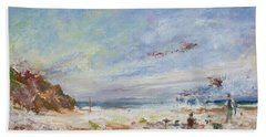 Beachy Day - Impressionist Painting - Original Contemporary Hand Towel