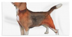 Beagle Watercolor Painting By Kmcelwaine Bath Towel