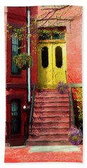 Beantown Brownstone With Yellow Doors Hand Towel