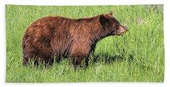 Bear Eating Daisies Hand Towel