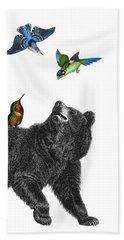 Bear With Birds Antique Illustration Bath Towel