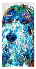 Bearded Collie Art 2 - Dog Portrait By Sharon Cummings Hand Towel