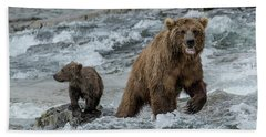 Bath Towel featuring the photograph Bears Being Watchful  by Cheryl Strahl