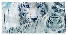 Siberian Tiger Digital Art Hand Towels
