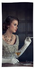 Beautiful 1930s Woman With Cocktail And Cigarette Hand Towel